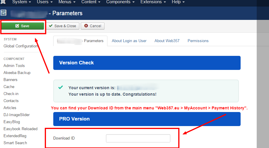 Enter your Download ID into the Parameters.