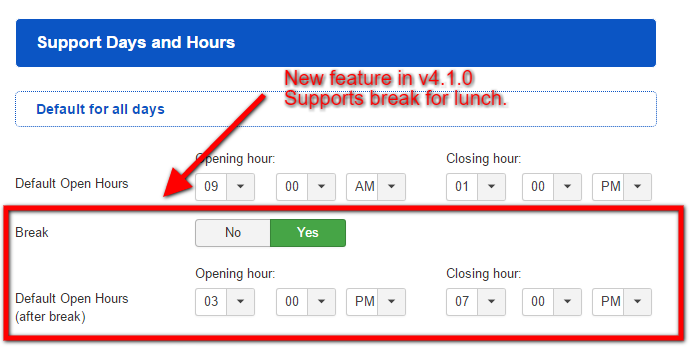 support hours new feature v4.1.0