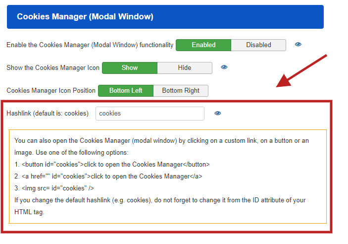 Open the Cookie Manager (modal window) from anywhere.