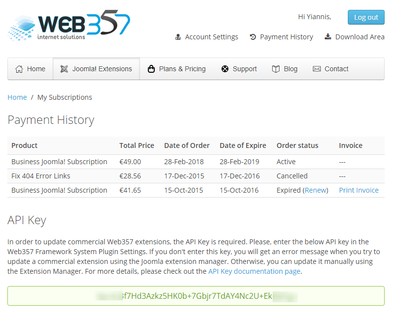find your API Key in the Web357 Account Settings