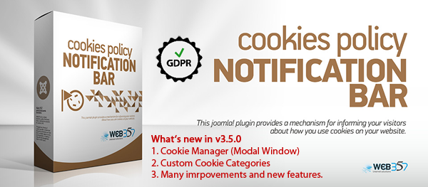 The Cookies Manager has been launched in v3.5.0 of the Cookies Notification Bar Joomla! Plugin