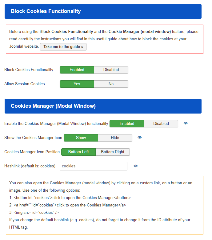 How to open the Cookies Manager (modal window) by clicking on a custom link?