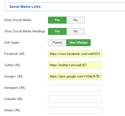 Social Media Links (Parameters)