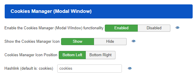 Cookies Manager (Modal Window)