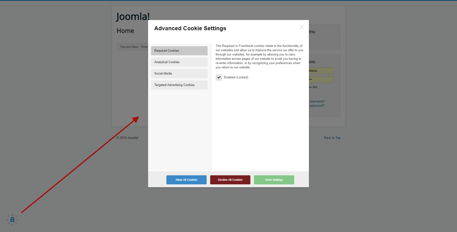 Demo (the Cookies Manager in a modal window after user clicks on the cookies manager icon)