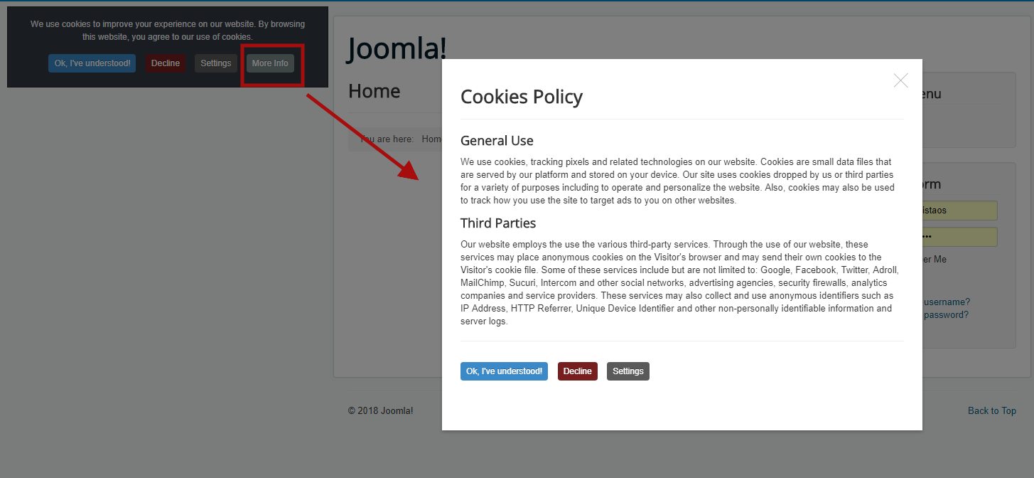 Demo (the modal window with information about the cookies policy)