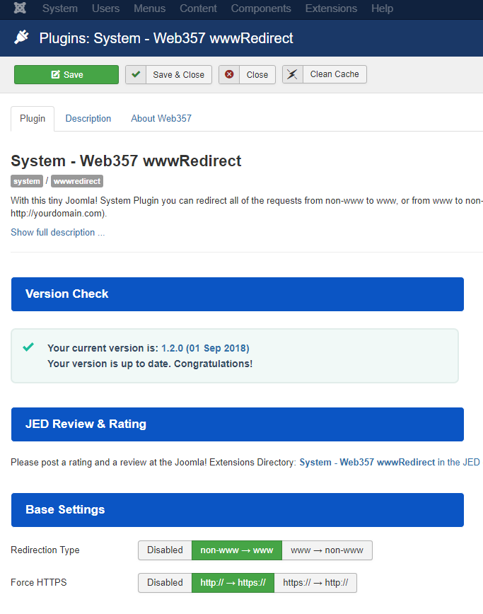 www Redirect Joomla! Plugin - Parameters