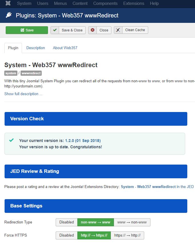 www Redirect plugin settings