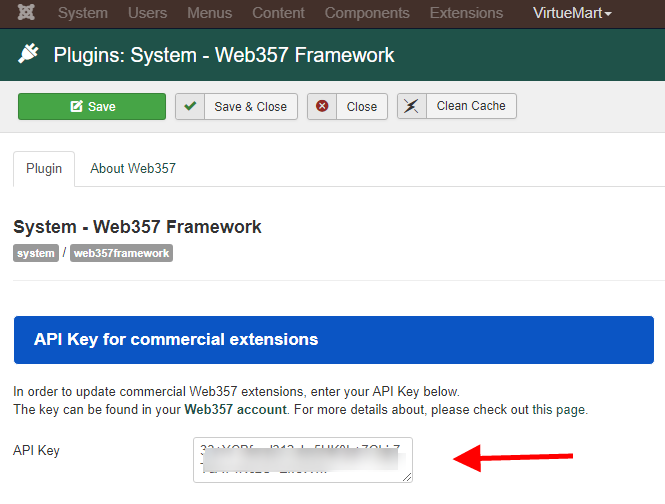 Enter the API Key in Web357 Framework plugin settings