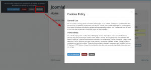 21 Demo (the modal window with information about the cookies policy)