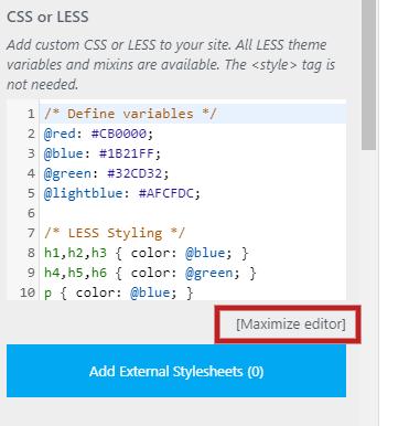 Maximize editor (PRO feature)