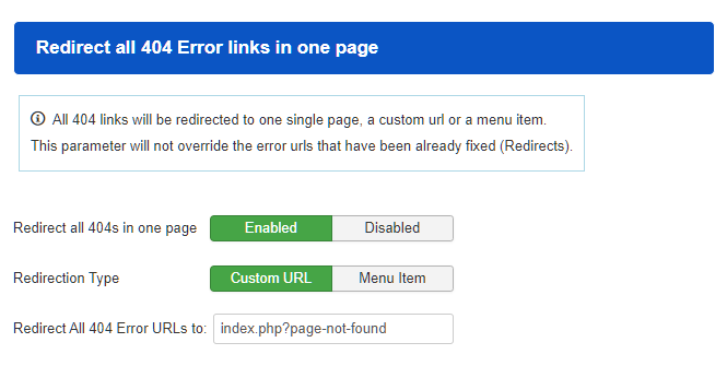 Redirect all 404 Error links in one page