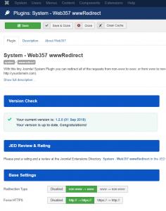 www Redirect Joomla! Plugin - Parameters